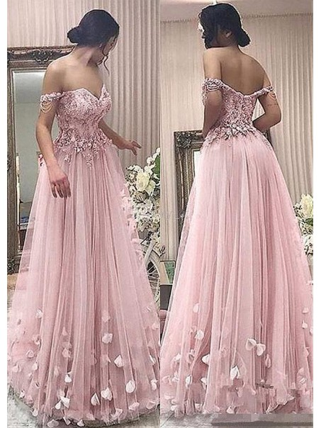 A-Line Off-the-Shoulder Beaded Lace Tulle Long Prom Dresses Formal Evening Dresses 99501346