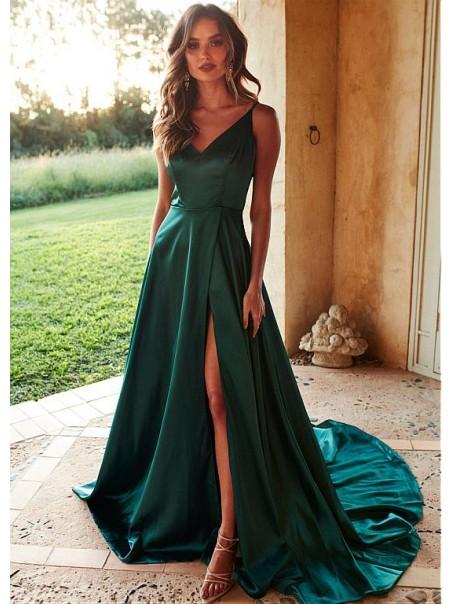 A-Line V-Neck Long Prom Dresses Formal Evening Dresses 99501347