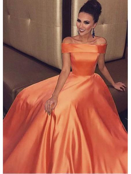 A-Line Off-the-Shoulder Long Prom Dresses Formal Evening Dresses 99501348