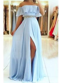 A-Line Off-the-Shoulder Beaded Long Prom Dresses Formal Evening Dresses 99501353