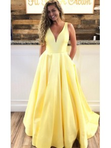 A-Line V-Neck Long Prom Dresses Formal Evening Dresses 99501363