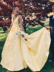 A-Line V-Neck Long Yellow Prom Dresses Formal Evening Dresses 99501369