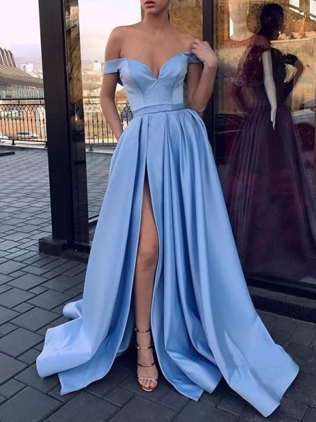 A-Line Off the Shoulder Satin High Slit Long Prom Dresses Formal Evening Dresses 99501370