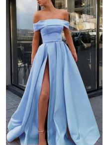 A-Line Off the Shoulder Satin High Slit Long Prom Dresses Formal Evening Dresses 99501371