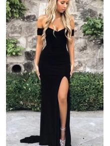 Elegant Long Black Off-the-Shoulder Prom Dresses Evening Gowns with Slit 99501381