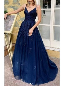 A-Line V-Neck Lace Appliques Long Prom Dress Formal Evening Dresses 99501419