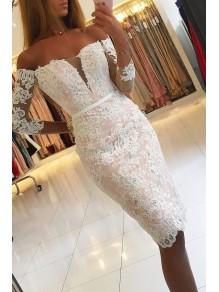 Elegant Off-the-Shoulder Short Lace Prom Dress Formal Evening Dresses 99501423