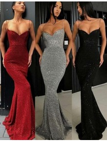 Mermaid Spaghetti Straps Sparkling Long Prom Dress Formal Evening Dresses 99501429