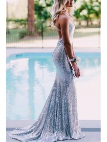 Mermaid V-Neck Sparkling Long Prom Dress Formal Evening Dresses 99501439