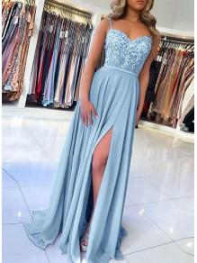 A-Line Beaded Lace Chiffon Long Prom Dress Formal Evening Dresses 99501441