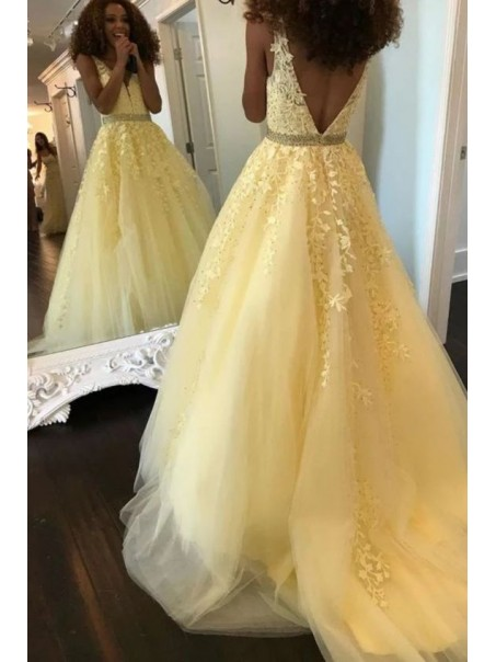 A-Line Beaded Lace Appliques V-neck Long Prom Dress Formal Evening Dresses 99501444