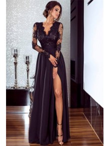 A-Line Long Sleeves Lace Chiffon Long Prom Dress Formal Evening Dresses 99501462