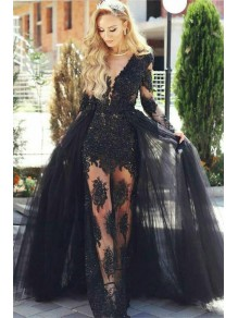 Lace and Tulle V-Neck Long Black Prom Dress Formal Evening Dresses 99501463
