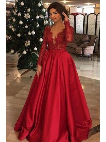 A-Line Long Sleeves V-Neck Lace Satin Red Prom Dress Formal Evening Dresses 99501482