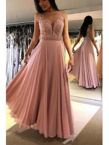 A-Line Beaded Lace Chiffon Long Prom Dress Formal Evening Dresses 99501488