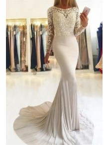 Mermaid Long Sleeves Lace Prom Dress Formal Evening Dresses 99501563