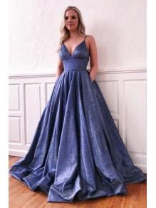 A-Line V-Neck Long Prom Dress Formal Evening Dresses 99501601