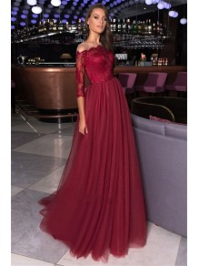A-Line Lace and Tulle Long Prom Dress Formal Evening Dresses 99501648
