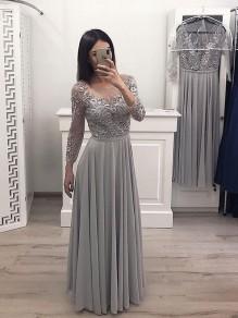 A-Line Chiffon Lace Long Prom Dress Formal Evening Dresses 99501707