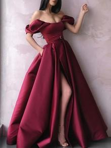 A-Line Off-the-Shoulder Long Prom Dress Formal Evening Dresses 99501738