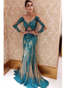Mermaid Lace Long Sleeves Prom Dress Formal Evening Dresses 99501764