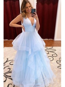 A-Line Tulle V-Neck Long Prom Dress Formal Evening Dresses 99501779