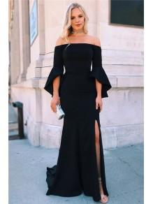Mermaid Off-the-Shoulder Long Black Prom Dress Formal Evening Dresses 99501794