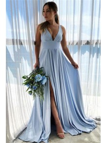 A-Line V-Neck Long Prom Dress Formal Evening Bridesmaid Dresses 99501796
