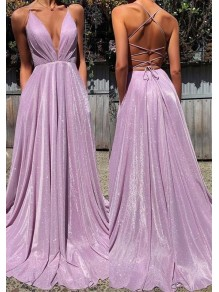 A-Line V-Neck Sparkle Long Prom Dress Formal Evening Dresses 99501800
