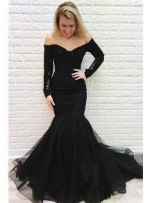 Mermaid Lace Long Black Prom Dress Formal Evening Dresses 99501802