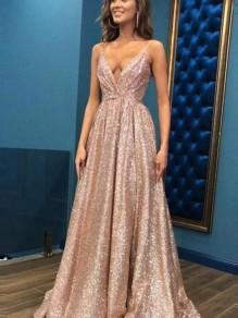 A-Line V-Neck Sequins Long Prom Dress Formal Evening Dresses 99501803