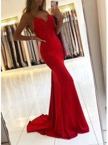 Elegant Mermaid Beaded Lace Long Red Prom Dress Formal Evening Dresses 99501809