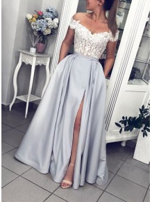 A-Line Off-the-Shoulder Lace and Satin Long Prom Dress Formal Evening Dresses 99501810