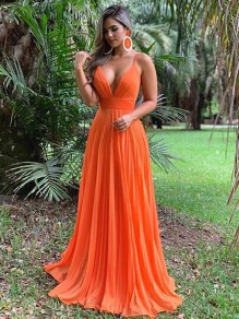 A-Line Spaghetti Straps V-Neck Long Prom Dresses Formal Evening Gowns 99501813