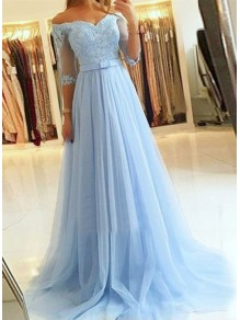A-Line Off-the-Shoulder Lace Tulle Long Prom Dresses Formal Evening Gowns 99501814
