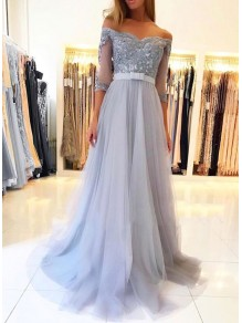 A-Line Off-the-Shoulder Lace Tulle Long Prom Dresses Formal Evening Gowns 99501815