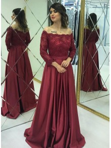 A-Line Off-the-Shoulder Lace Long Prom Dresses Formal Evening Gowns 99501816