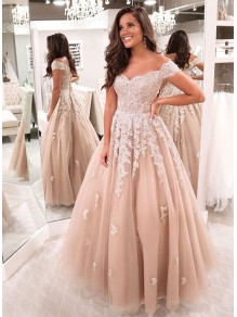 A-Line Off-the-Shoulder Lace Long Prom Dresses Formal Evening Gowns 99501817