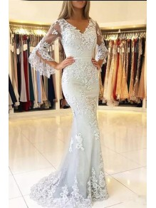 Elegant Mermaid Lace V-Neck Long Prom Formal Evening Gowns Mother of The Bride Dresses 99501824