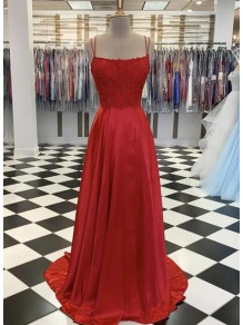 A-Line Spaghetti Straps Lace Long Prom Dresses Formal Evening Gowns 99501827