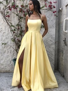 A-Line Spaghetti Straps Long Prom Dresses Formal Evening Gowns 99501830