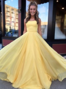 A-Line Spaghetti Straps Long Yellow Prom Dresses Formal Evening Gowns 99501833