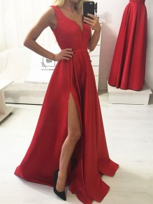 A-Line Long Red V-Neck Prom Dresses Formal Evening Gowns 99501836