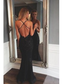 Long Black Lace Spaghetti Straps Prom Dresses Formal Evening Gowns 99501838