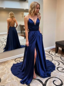 A-Line Spaghetti Straps V-Neck Long Prom Dresses Formal Evening Gowns 99501839