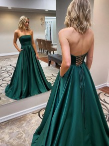 A-Line Strapless Long Prom Dresses Formal Evening Gowns 99501840