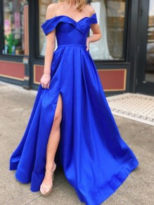 A-Line Off-the-Shoulder Royal Blue Long Prom Dresses Formal Evening Gowns 99501842