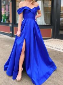 A-Line Off-the-Shoulder Royal Blue Long Prom Dresses Formal Evening Gowns 99501842
