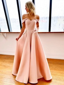 A-Line Off-the-Shoulder Long Prom Dresses Formal Evening Gowns with Pockets 99501844