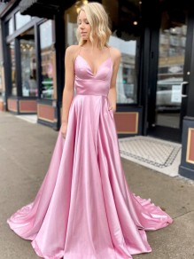 A-Line Spaghetti Straps V-Neck Long Prom Dresses Formal Evening Gowns with Pockets 99501847